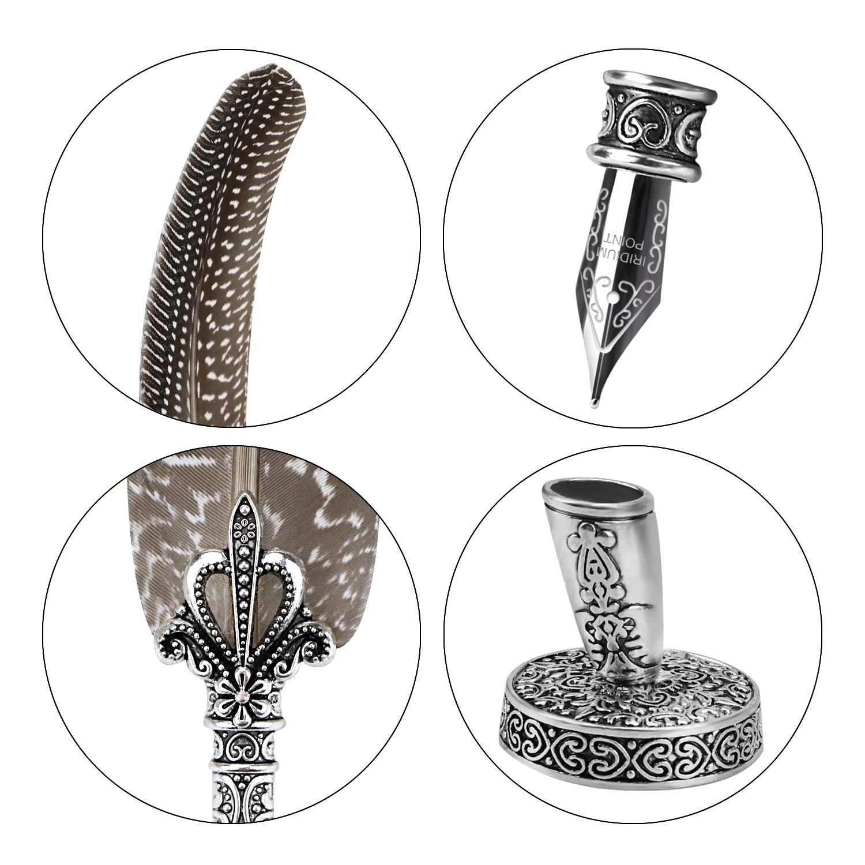 vera piuma 100/% artigianali Gufo nero Penna calligrafia antica vintage Set di penne di piume con 10 pennini in acciaio inossidabile extra