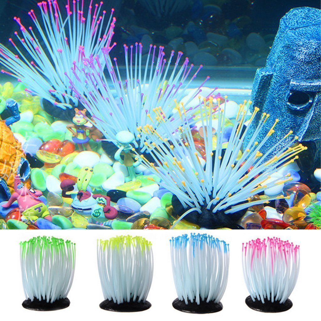 Yililay decoración del Acuario Artificial anémonas Luminous Coral Artificial decoración del Ornamento para Fish Tank Suministros Perros: Amazon.es: ...