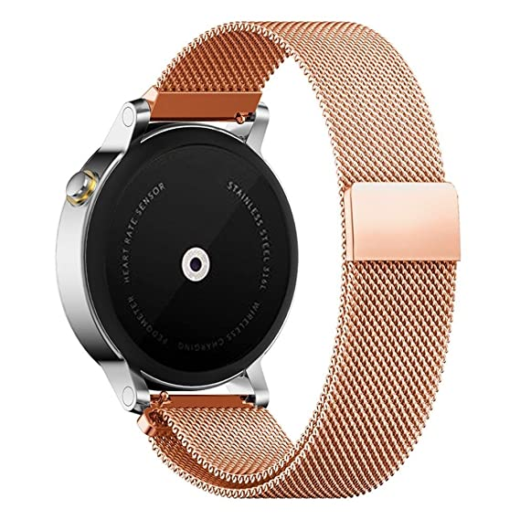 Pinhen 22MM Watch Band Steel Stainless Metal Watchband Replacement Watch Strap for ASUS Zenwatch 2, 46mm Moto 360 2nd, Pebble time,TIME Steel,Samsung ...