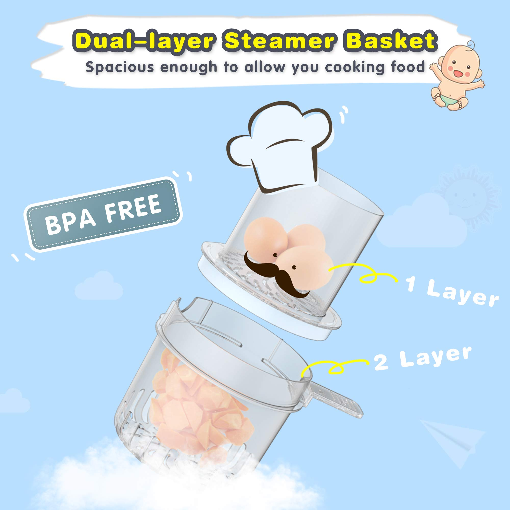 Elechomes Baby Food Maker Processor, Double Steam Basket Cooker with Timer, Blender, Steamer for Baby Infants Toddlers Food by Elechomes (Image #4)