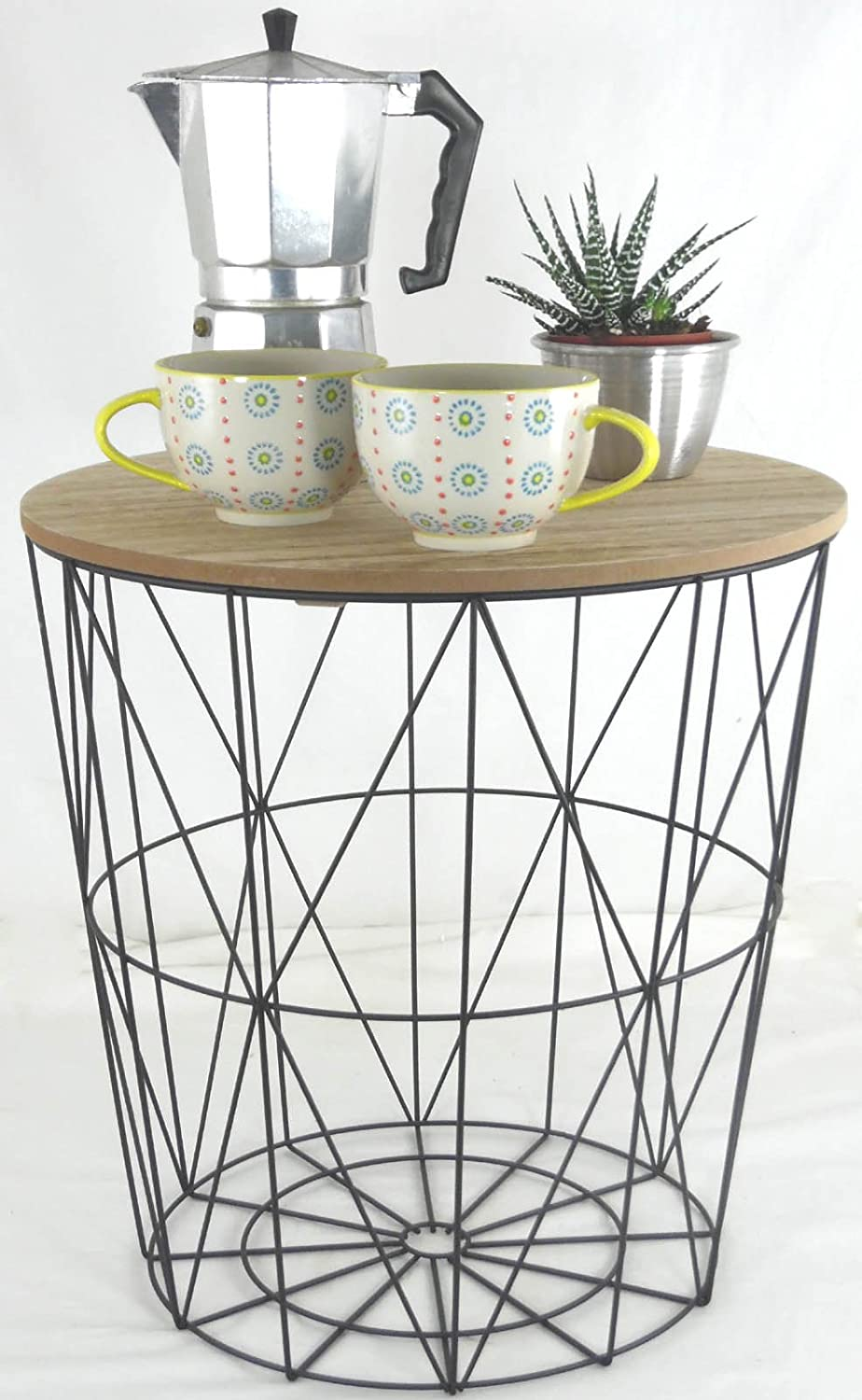 Metal wire small bedside occasional lamp table with lift off lid metal wire small bedside occasional lamp table with lift off lid amazon kitchen home greentooth Choice Image