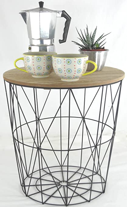 Metal wire small bedside occasional lamp table with lift off lid metal wire small bedside occasional lamp table with lift off lid amazon kitchen home keyboard keysfo Choice Image