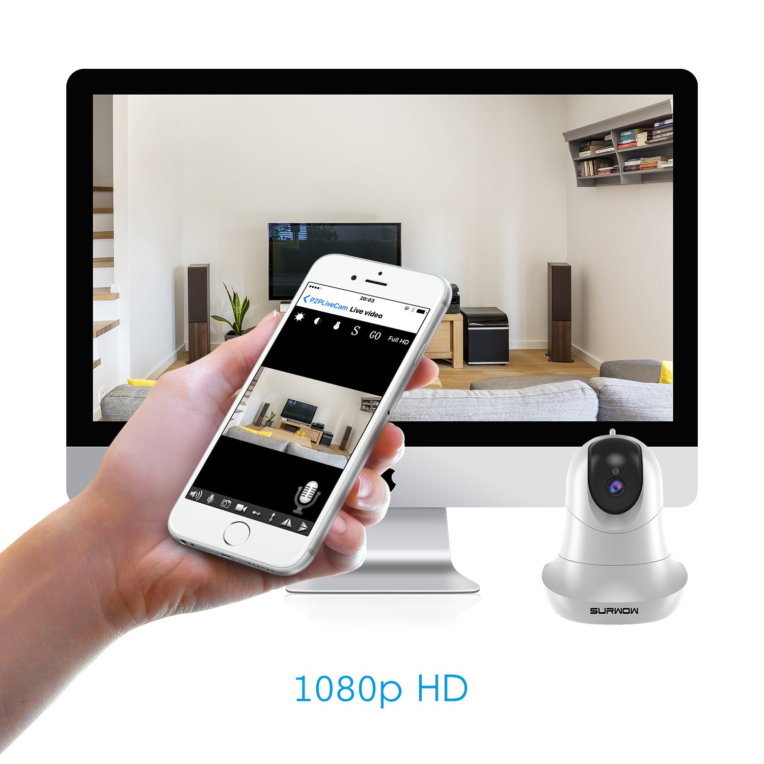 SURWOW Wireless IP Camera -1080P Wifi Surveillance Cameras Wireless HD with 2 Megapixel,Night Vision, Zoom/Pan/Tilt Control, Two-Way Audio for Baby,Pet Monitor and Home Security (WHITE) by SURWOW (Image #3)