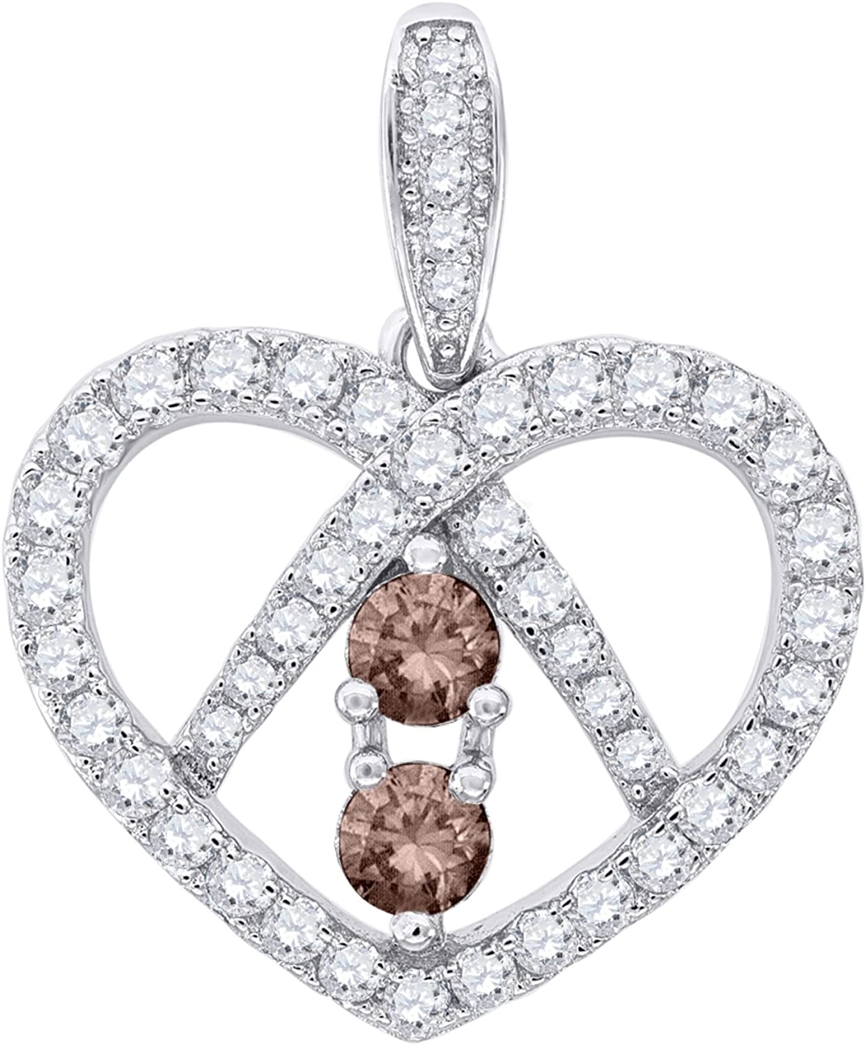 Jewels By Lux 925 Sterling Silver Womens Round CZ 2 Two Brown Stone Heart Fashion Charm Pendant