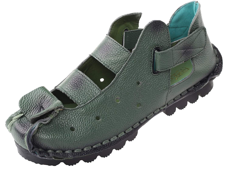 ZHRUI Frauen Sommer Sandalen Vintage handgefertigte echtes Leder Wohnungen Schuhe (Farbe   Style 2-Grün Größe   5 UK)