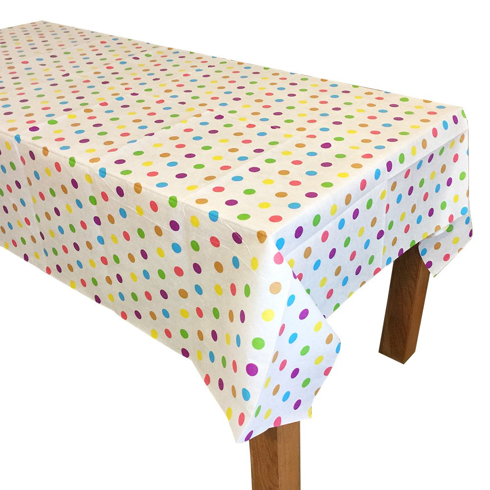 """2 Pcs. Polka Dot Disposable Party Table Cover Cloth, One Time Single Use Tablecloth, 69"""" x 51"""" by TOIZU"""