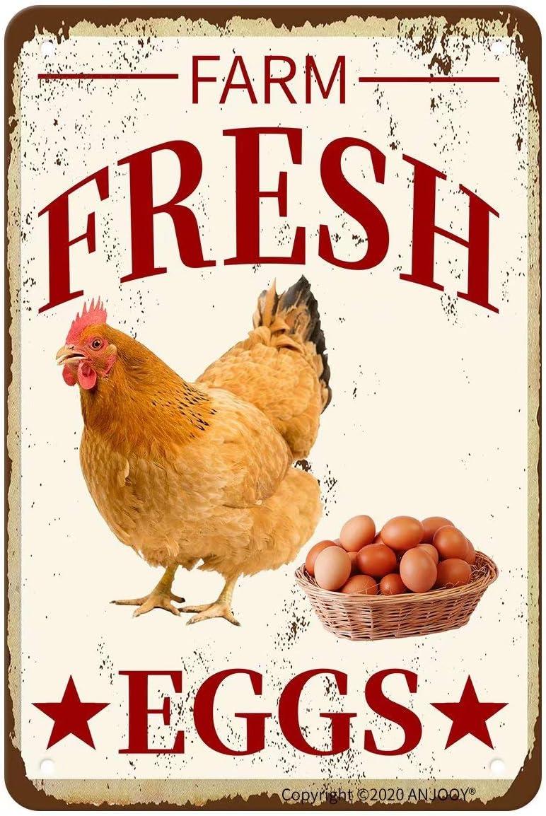 ANJOOY Retro Metal Tin Signs - Farm Fresh Eggs - Waterproof for Farmhouse Home Bars Restaurants Cafes Pubs Wall Decor Art 8