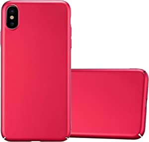 Cadorabo Case Compatible with Apple iPhone Xs MAX in Metal RED - Shockproof and Scratch Resistent Plastic Hard Cover - Ultra Slim Protective Shell Bumper Back Skin
