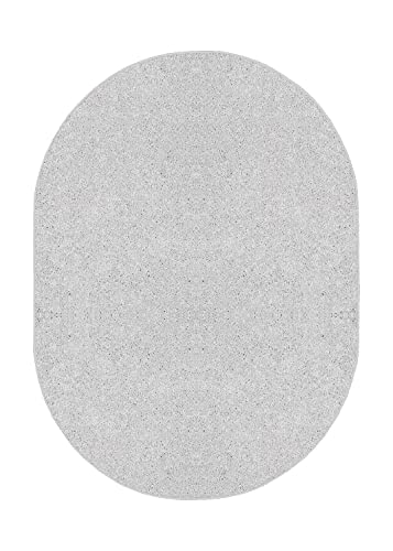 Bright House Solid Color Oval Shape Area Rugs Off White – 6 x9 Oval
