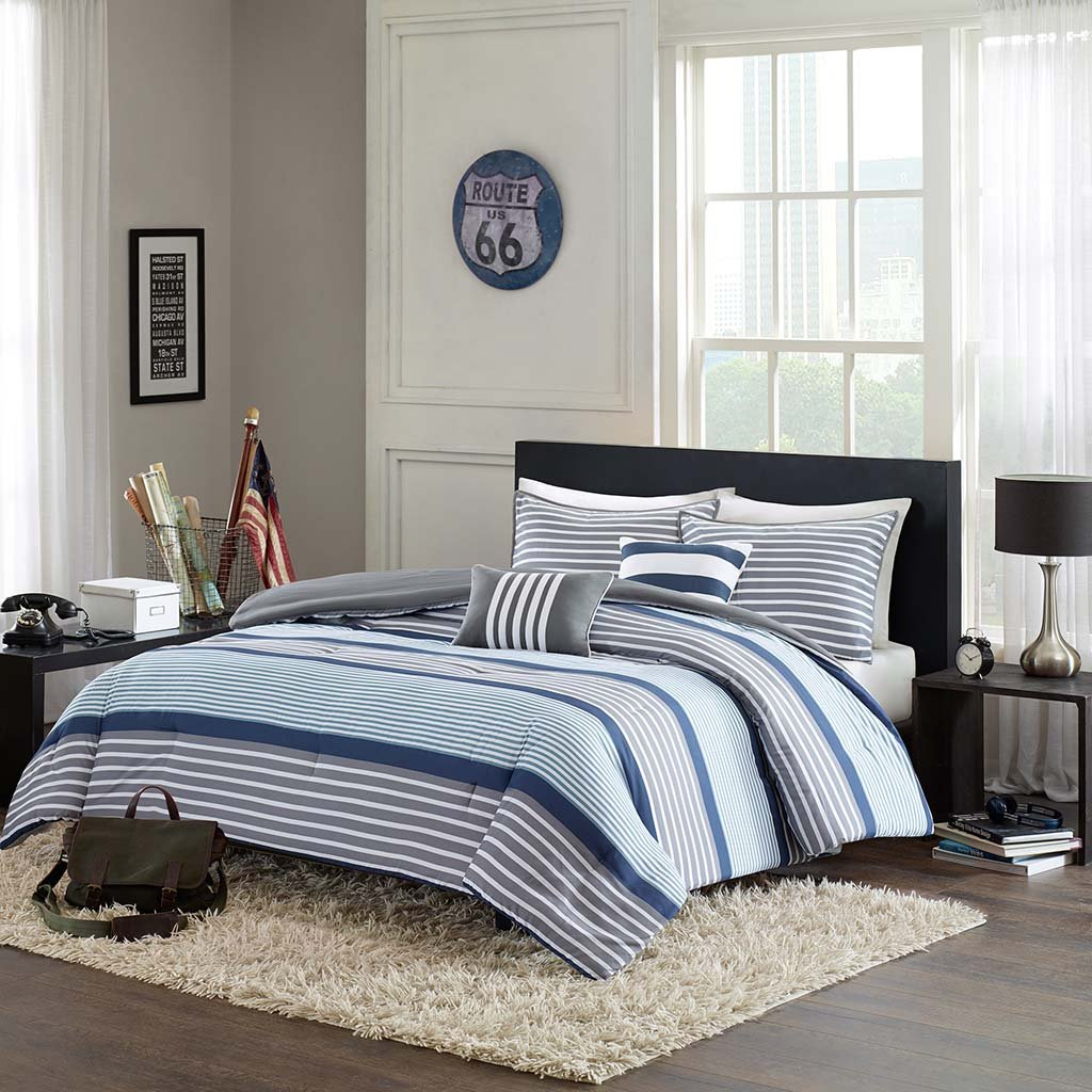 Intelligent Design Paul 5 Piece Comforter Set, Blue, Full/Queen