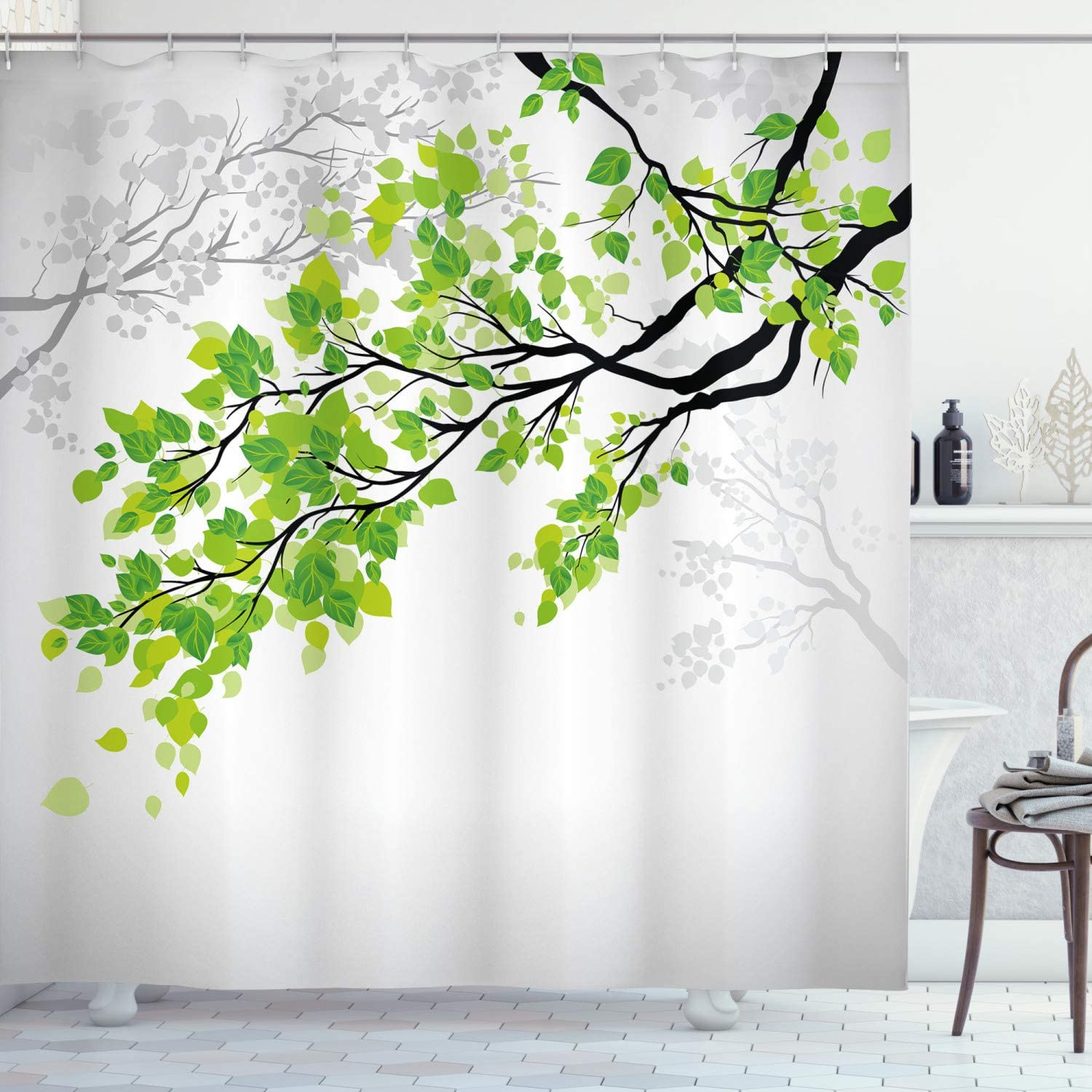 "Ambesonne Nature Shower Curtain, Twiggy Spring Tree Branch with Refreshing Leaves Summer Peaceful Woodland Graphic, Cloth Fabric Bathroom Decor Set with Hooks, 70"" Long, Green Grey"