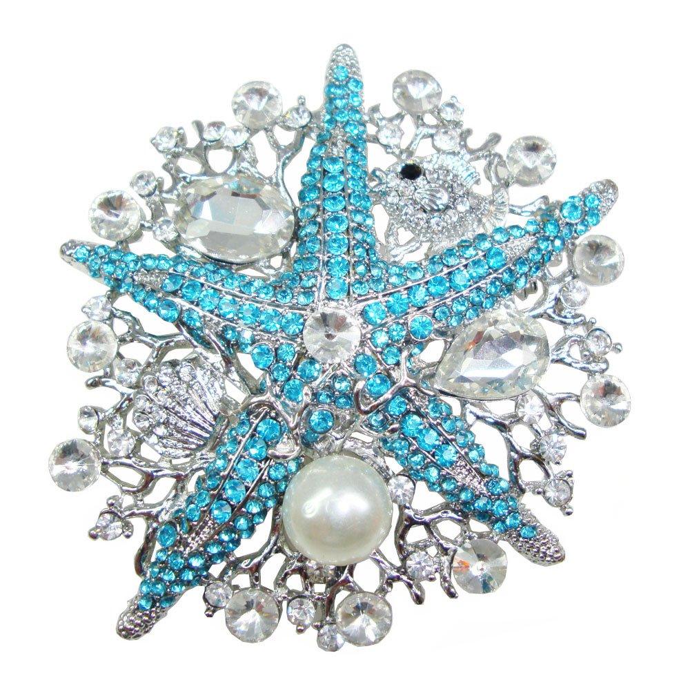 TTjewelry Vintage Style Rhinestone Crystal Starfish Brooch Pin (Blue)