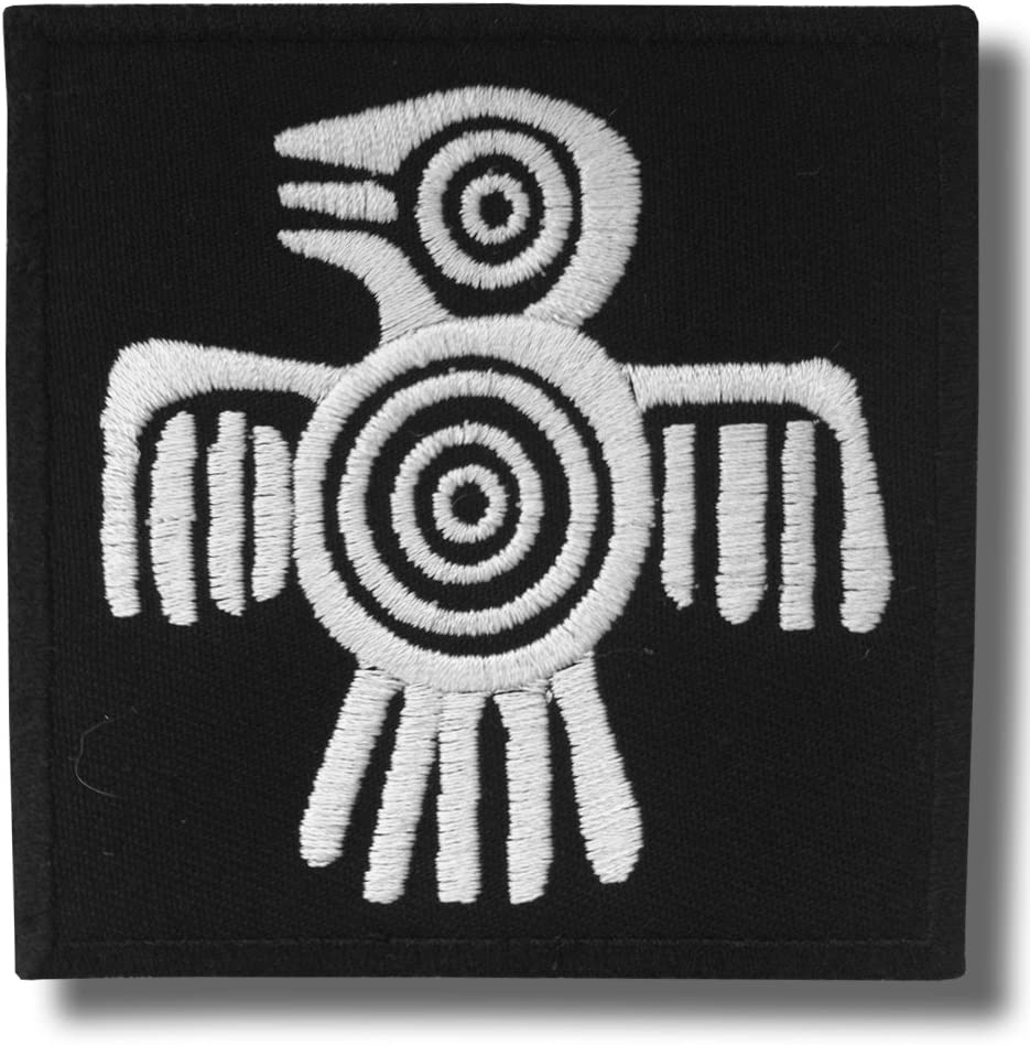 Actecs bird bordado parche 8 x 8 cm
