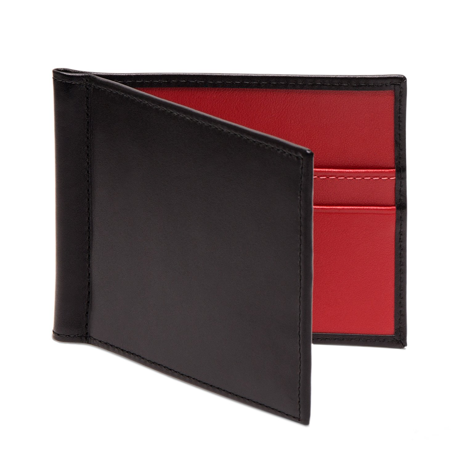 Ettinger Sterling Collection Black and Red Money Clip Wallet