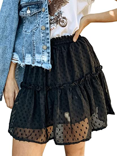 7f8461894 Miessial Women's High Waist A Line Mini Skirt Pleated Ruffle Cute Beach  Short Skirt (4