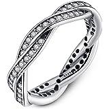 Presentski 925 Sterling Silver Bowknot anillo con Austria ...