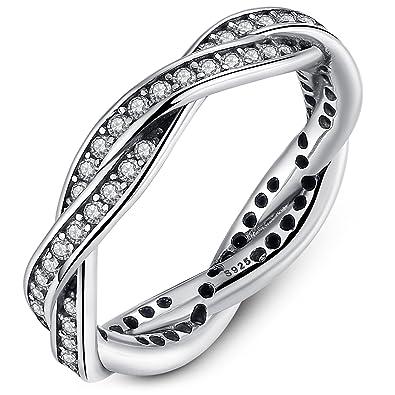 Presentski Anillos Plata Mujer 925 Originales con Circonitas,Plata San Valentin Amor Love Pareja Alianzas Boda Compromiso Promesa Mujer Plata Anillo Ring: ...