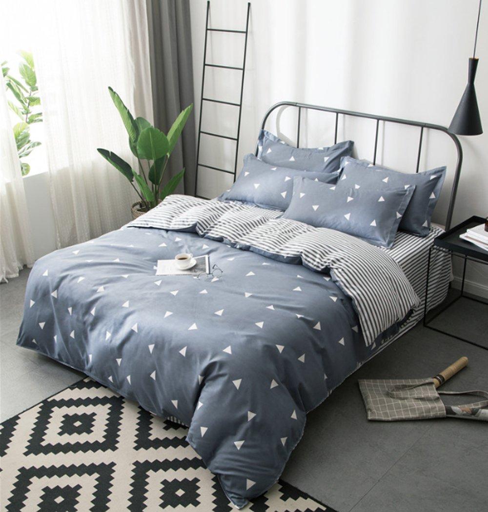 3pcs Full Size Grey Duvet Cover Set with White Triangle Stripes Patterns,No Comforter-1 duvet cover set+2 Pillowcases