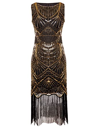 FAIRY COUPLE 1920s Gatsby Full Sequined Tassels Hem Flapper Prom Dress D20S011 at Amazon Womens Clothing store: