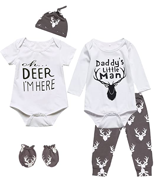 50cb7c1349b Amazon.com  6 Pieces Outfit Set Baby Boys  Funny Deer Print Romper  Clothing