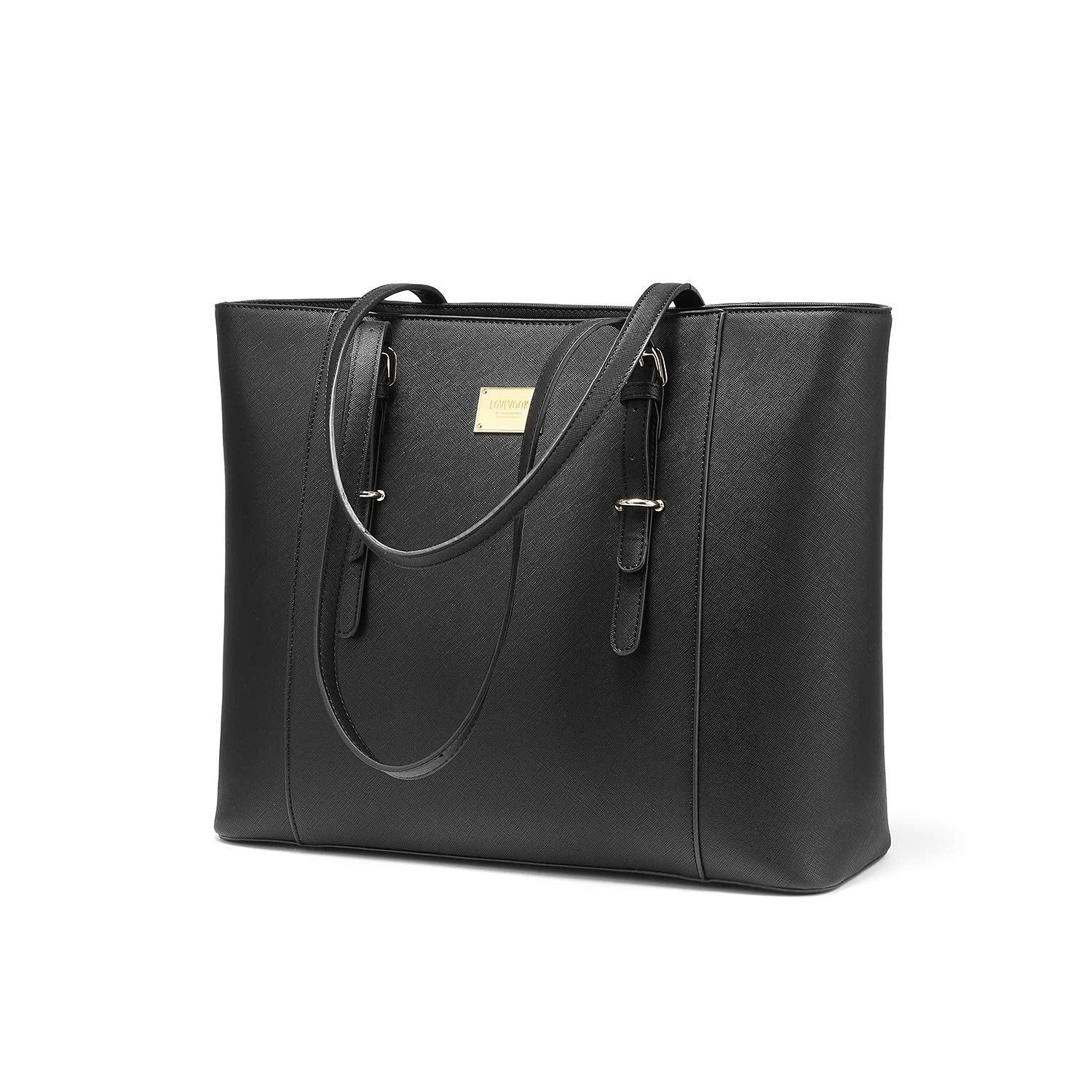 Laptop Bag for Women Large Office Handbags Briefcase Fits Up to 15.6'' (Updated Version)-Black