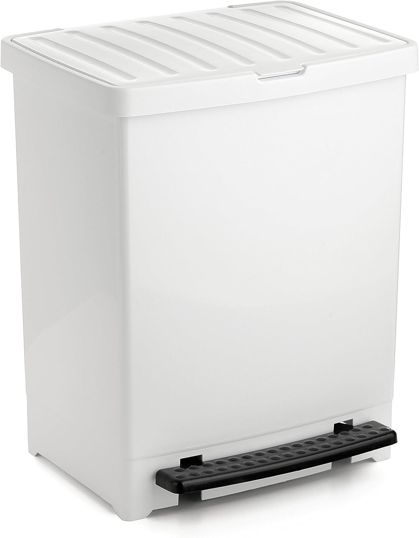 Tatay Cubo de Basura Cocina con Apertura a Pedal 25 l de Capacidad plástico Polipropileno, Blanco, 33,5 x 31 x 42 cm