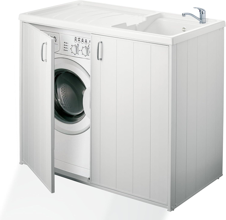 Negrari - 6008s Cubierta móvil y de lavado reversible, resina, blanco, de 109 x 60 x 94 cm