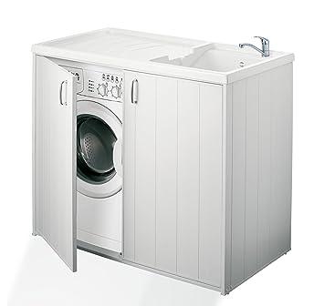 Negrari Schrank Fur Waschmaschine Und Waschbecken Umkehrbar Aus Harz Farbe Weiss Grosse 109 X 60 X 94 Cm 6008spplk