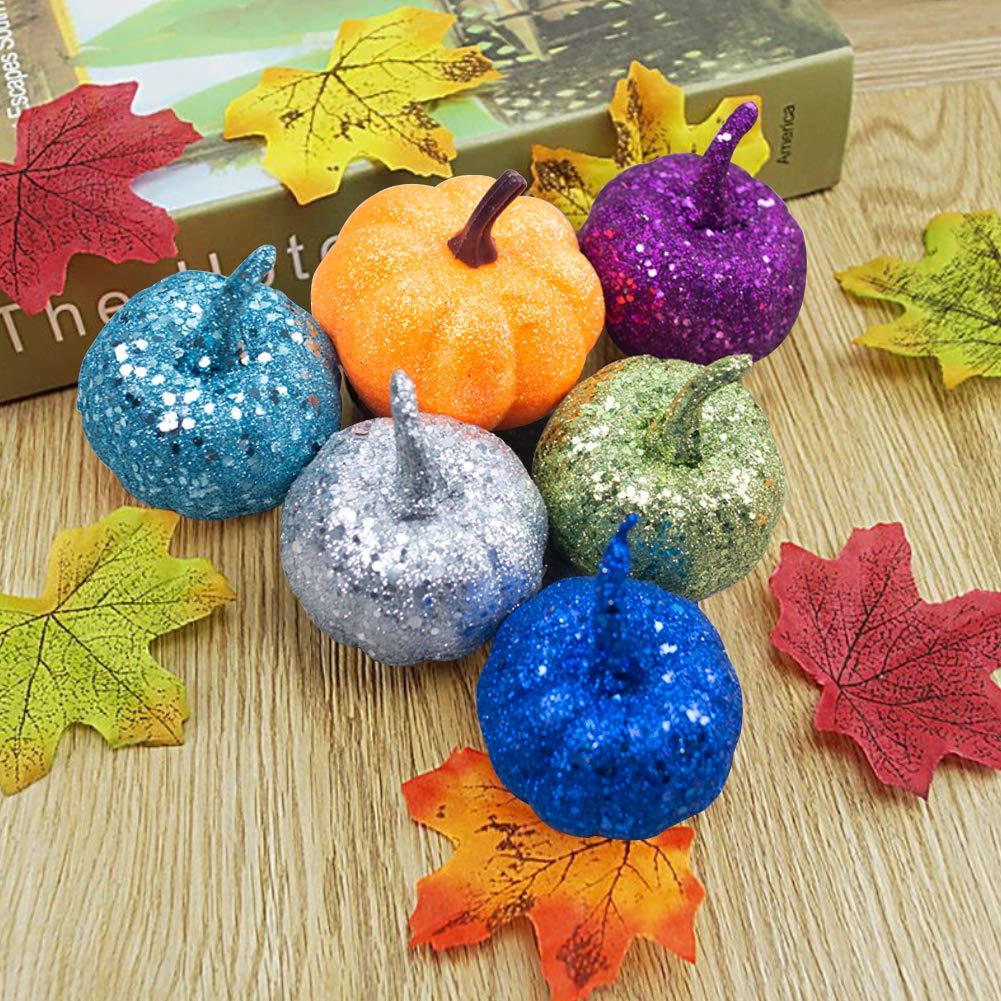 LoveInUSA Artificial Pumpkin, 9 Pcs Fake Pumpkin 8 x 2.25inch 1 x 2.5inch for Halloween Autumn Thanksgiving Party Decoration