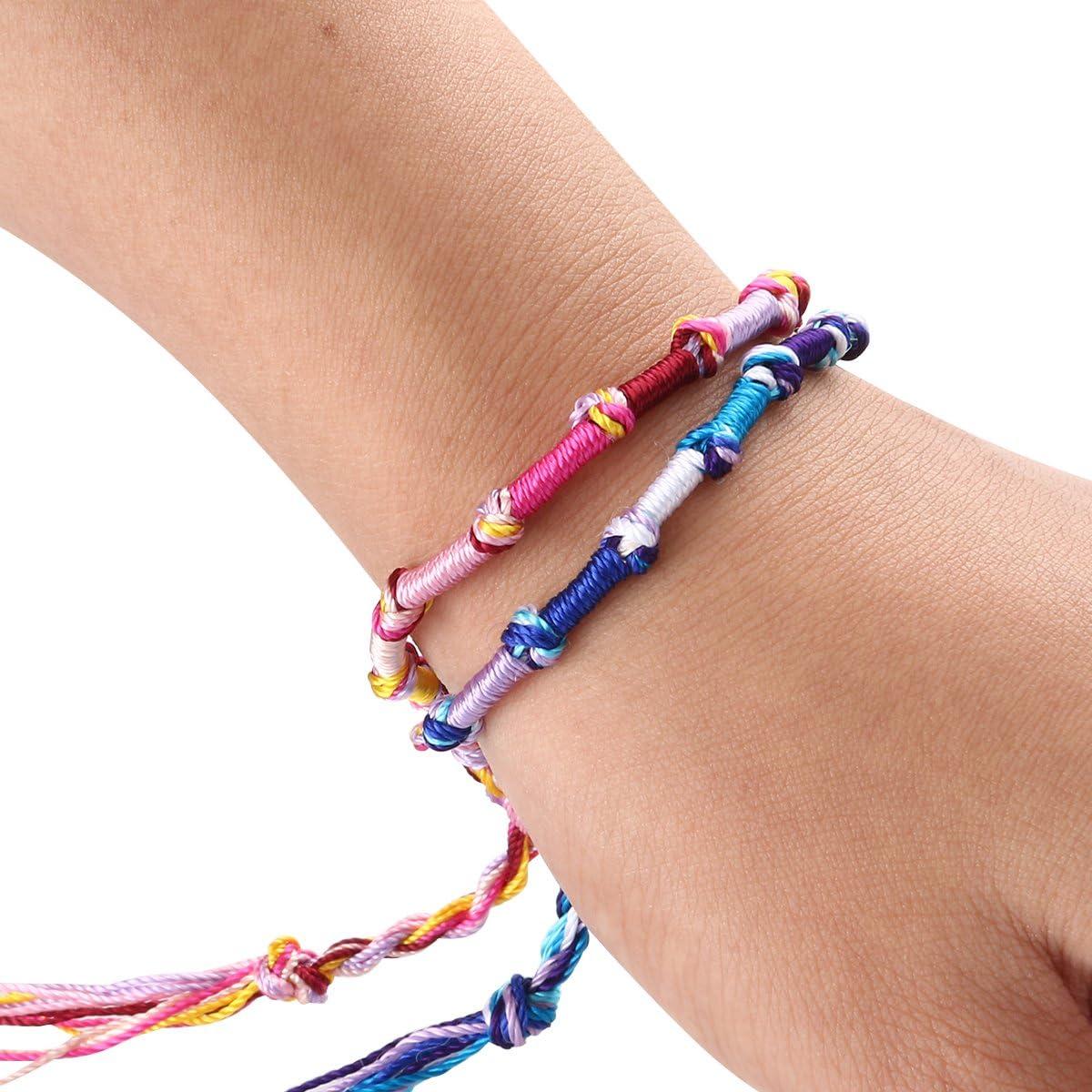 Random Color Toyvian Braided Bracelet Hippie Style Colorful Knurled Braided Bracelets Handmade Thread Wrist Ankle Bracelets Between 8-9.5-9pcs