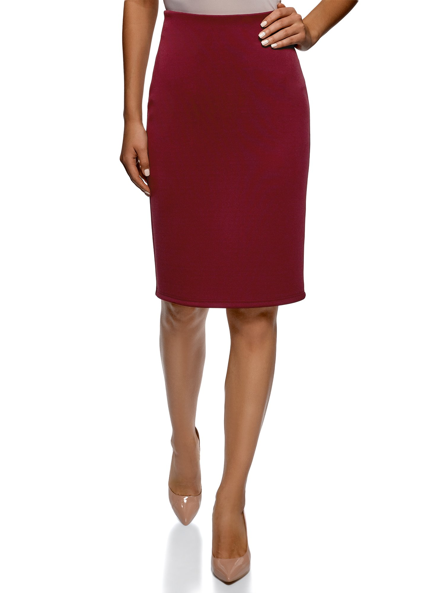 oodji Collection Women's Jersey Pencil Skirt, Red, 12 by oodji