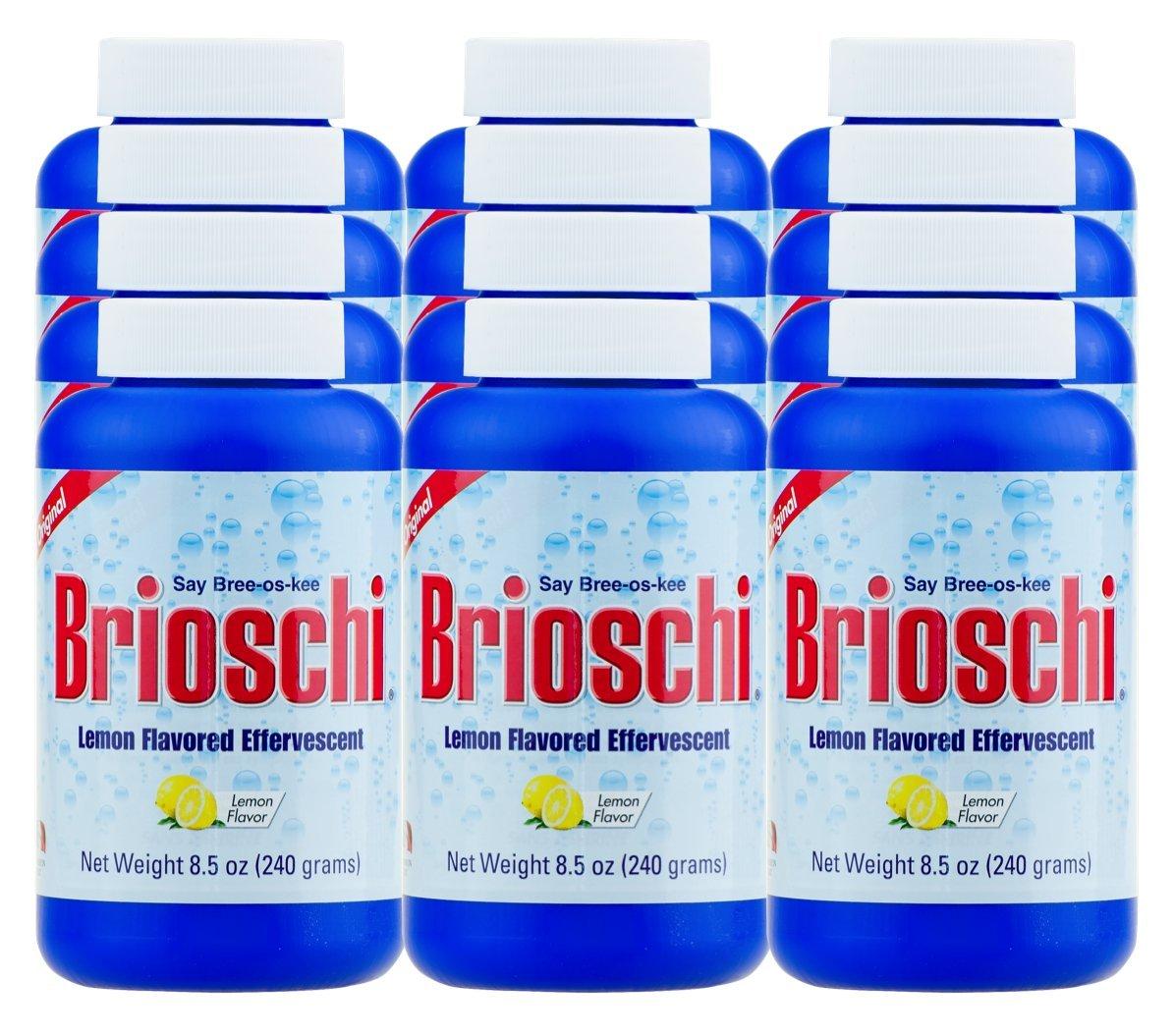 Brioschi Effervescent 8.5oz (12 Bottles) The Original Lemon Flavored Italian Effervescent 12 bottles