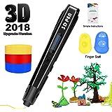 3D Printing Pen for Kids,Uvital 3D Drawing Doodle Printer Pen 【2018 Upgrade Version】Non-Clogging Bonus PLA Filaments Stencil eBook Best Gift for Children Adults Arts Crafts DIY Doodling(Black)