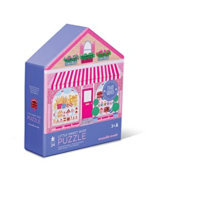 Crocodile Creek 4150-1 Two-Sided Little Sweet Shop Puzzle (24 Piece), Purple/Pink/Teal/Green/Blue: Toys & Games