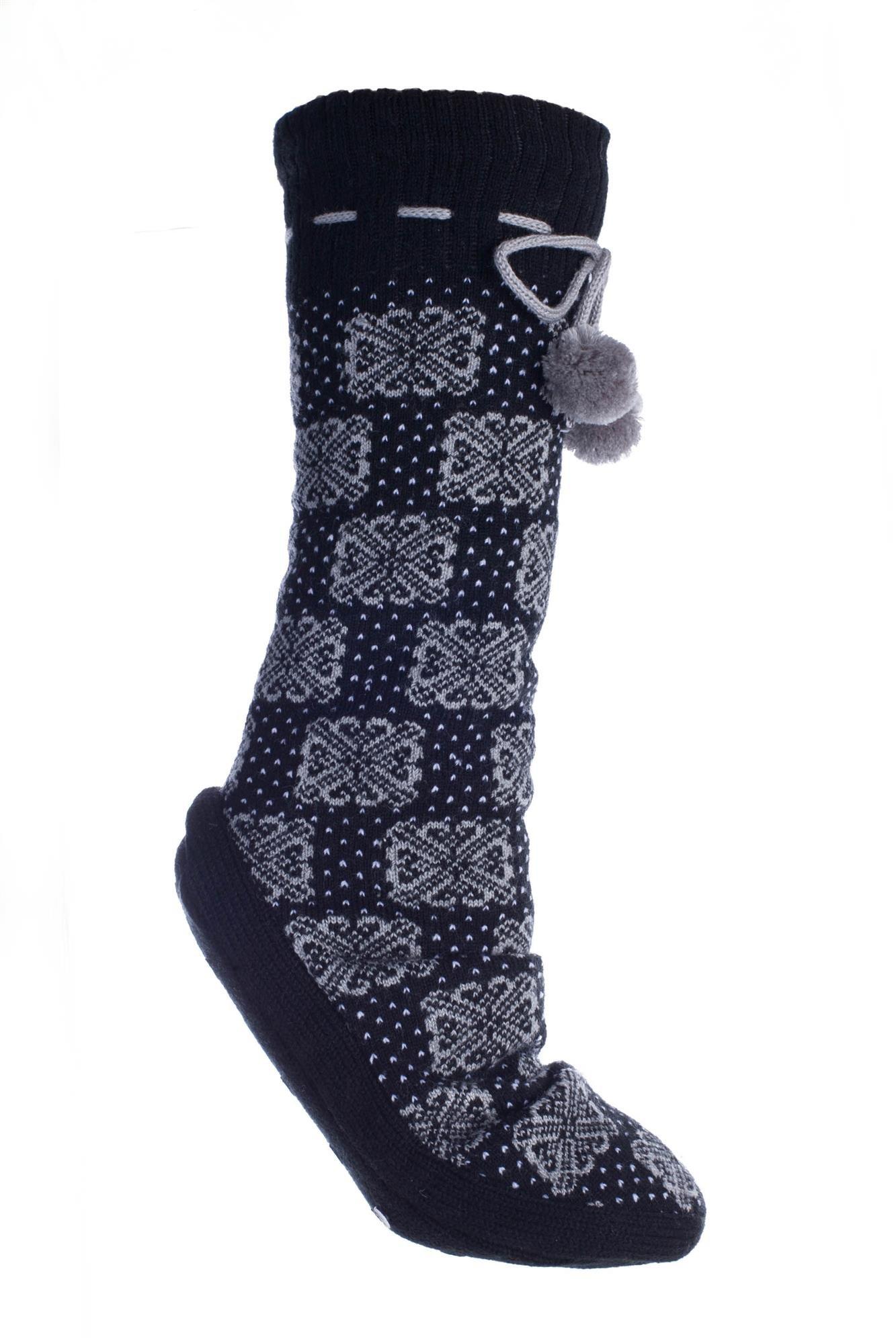 Women's Non-Slip Fuzzy Slipper Socks With Pom Poms Tile Large By MinxNY by MinxNY