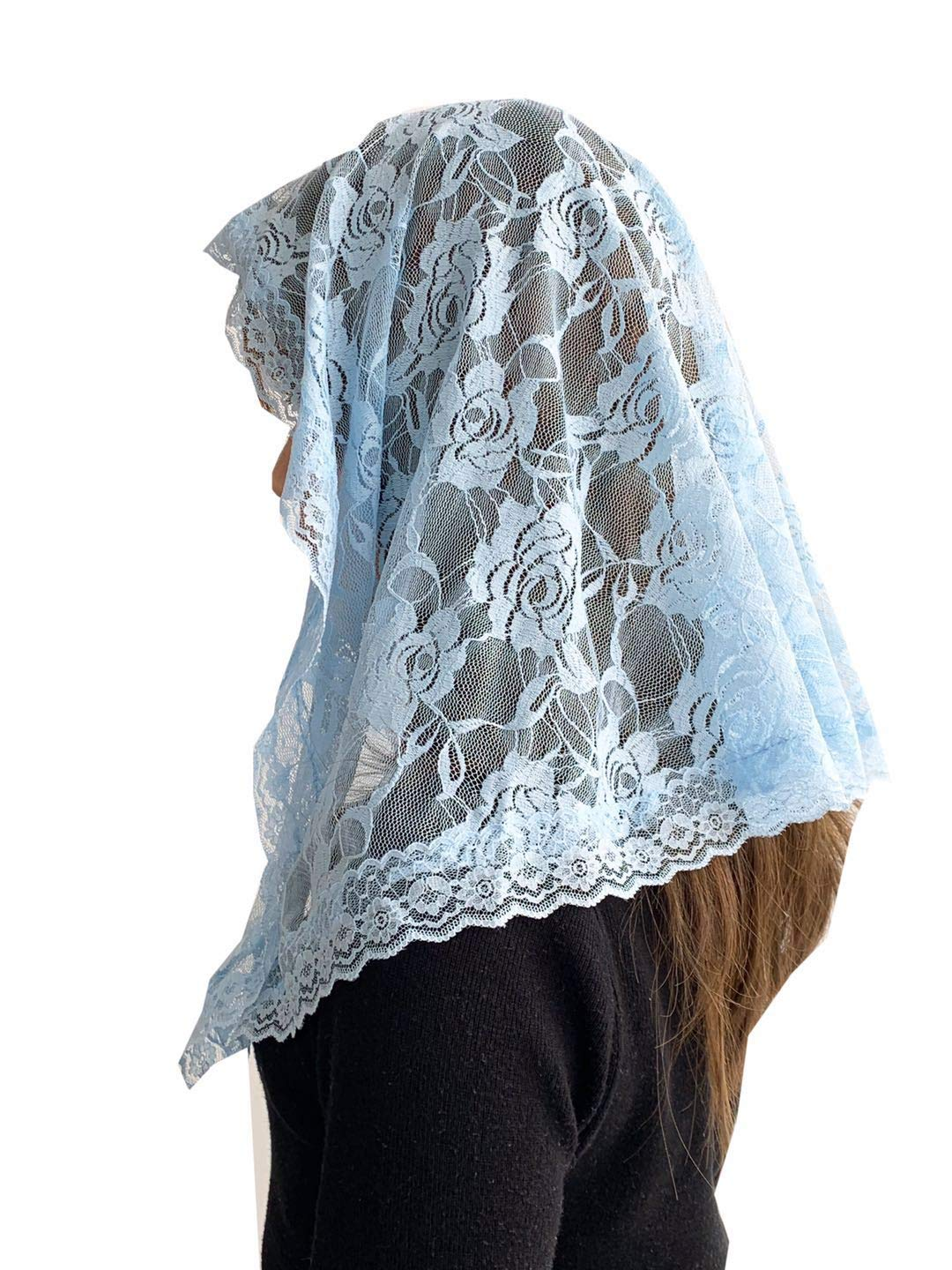 Veil Lace Mantilla Catholic Church Chapel Veil Head Covering Latin Mass (Blue) by Czy accessories (Image #3)
