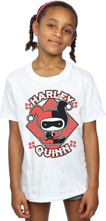 DC Comics niñas Chibi Harley Quinn Badge Camiseta