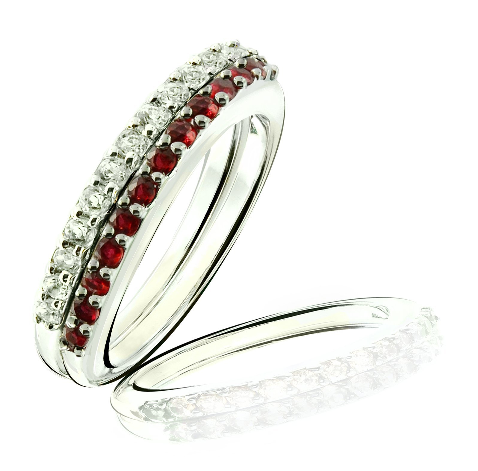 RB Gems Sterling Silver 925 Set of 2 Stack Rings GENUINE GEMS (BLUE TOPAZ, RUBY) RHODIUM-PLATED Finish (11, ruby)