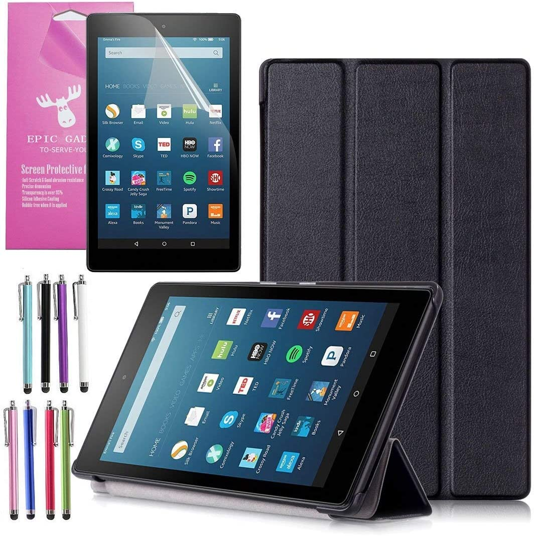 Epicgadget Fire HD 8 Case, Auto Sleep/Wake Folding Folio Tri-Fold Stand Case Cover for Amazon Fire HD 8, 8 Inch Display Tablet with 1 Screen Protector and 1 Stylus (Black)