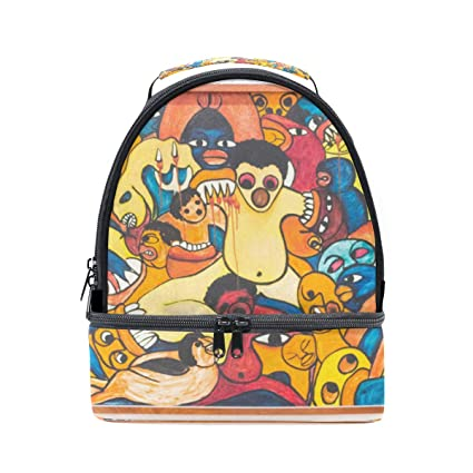 7f179aeb3dbd Amazon.com - HEOEH Colorful Monster Art Graffiti Lunch Bag Insulated ...