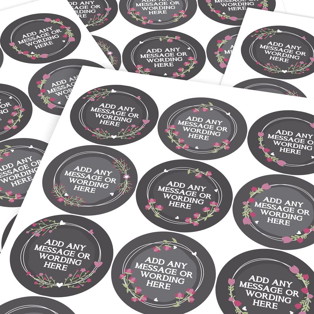 Custom Sticker Labels Parents Teachers Children Graphic Flavour Cute Floral Personalised 6 Stickers @ 9.5cm