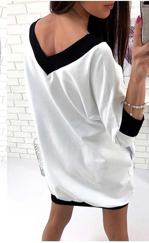 b162ff77f927c Women s Alien Long Sleeve V Neck Casual Loose T-Shirt Dress + Pins at Amazon  Women s Clothing store