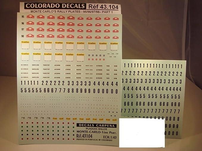 DECALS 1//43 PLAQUES RALLYE DE MONTE CARLO 1995 à 1998 COLORADO  43104