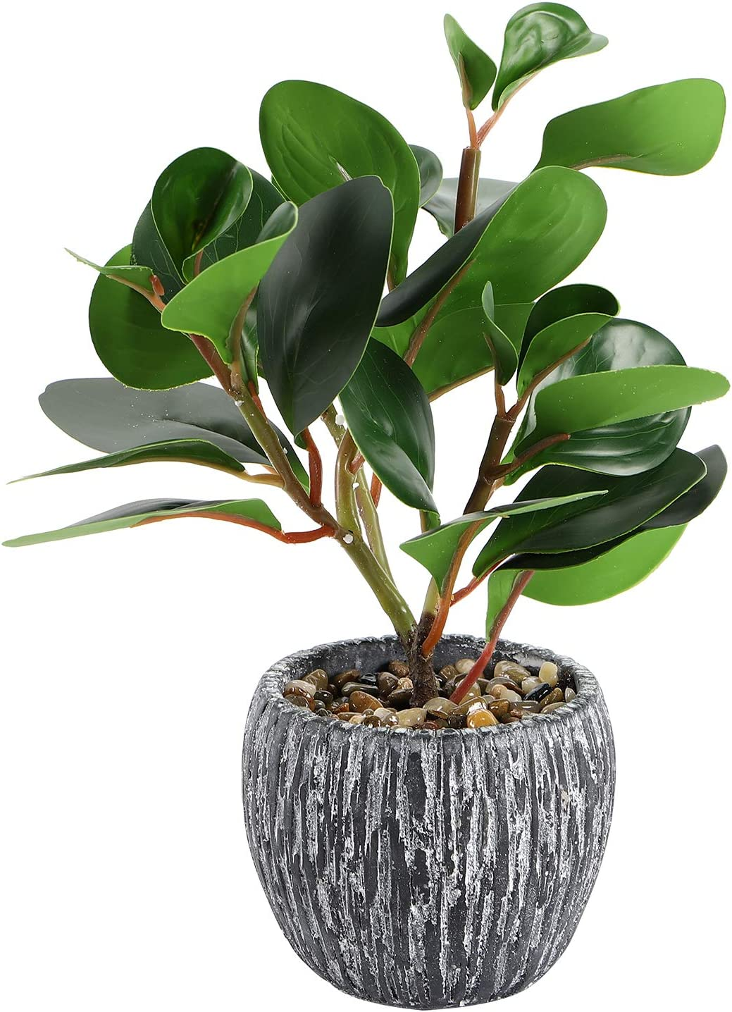 Artificial Potted Plants - Small Faux Plants Indoor Mini Real Looking Plastic Fiddle Leaf Fig Plant With Rustic Black Cement Planter For Home Decor, Office, Desk, Dinning Room Table, Bathroom, Kitchen