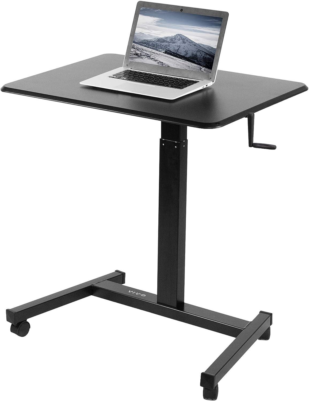 VIVO Mobile 32 inch Hand Crank Laptop Desk, Rolling Presentation Cart, Height Adjustable Ergonomic Workstation with Locking Wheels, Black (CART-V07M)