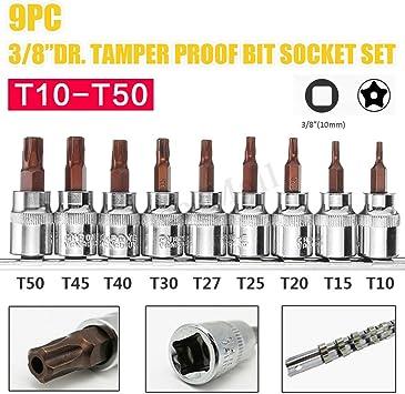 9Pcs 3//8 Inch Drive Sockets Set T10-T50 Five Angle Torx Screw