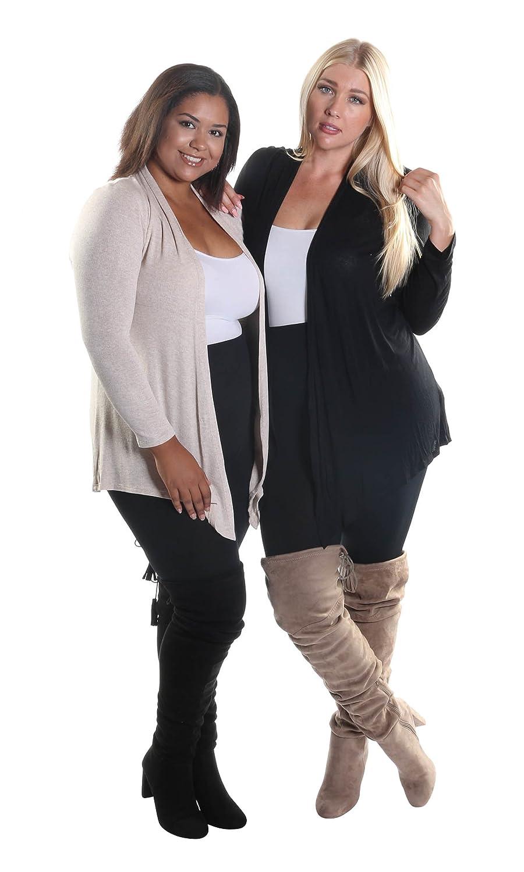 Hadari Women's Plus Size 2 Piece Set of Open Front Long Sleeve Cardigans