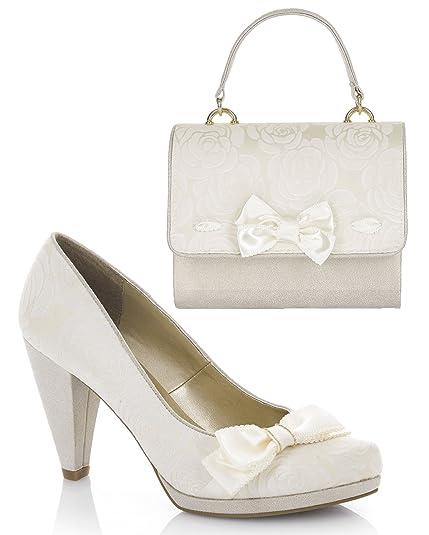 fe434dd009822 Ruby Shoo Women's Cream Susanna Court Shoe Pumps and Matching San Marino  Bag UK 3 EU