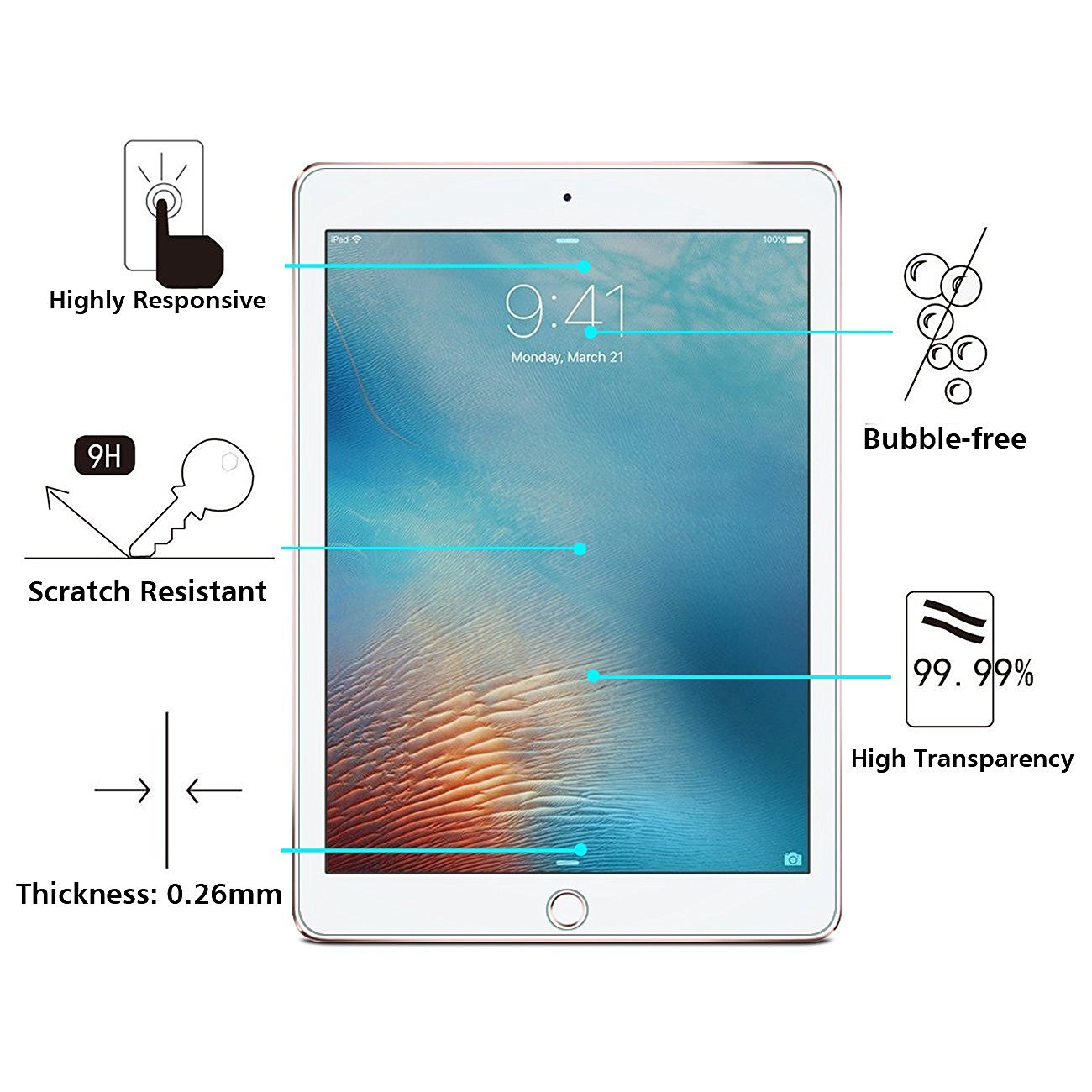 Surface pencil compatible tempered glass screen protector with 2 5d - Omoton 2017 Ipad Screen Protector Ipad Pro 9 7 Screen Protector Apple Pencil Compatible Tempered Glass With Scratch Resistant Crystal Clear Bubble