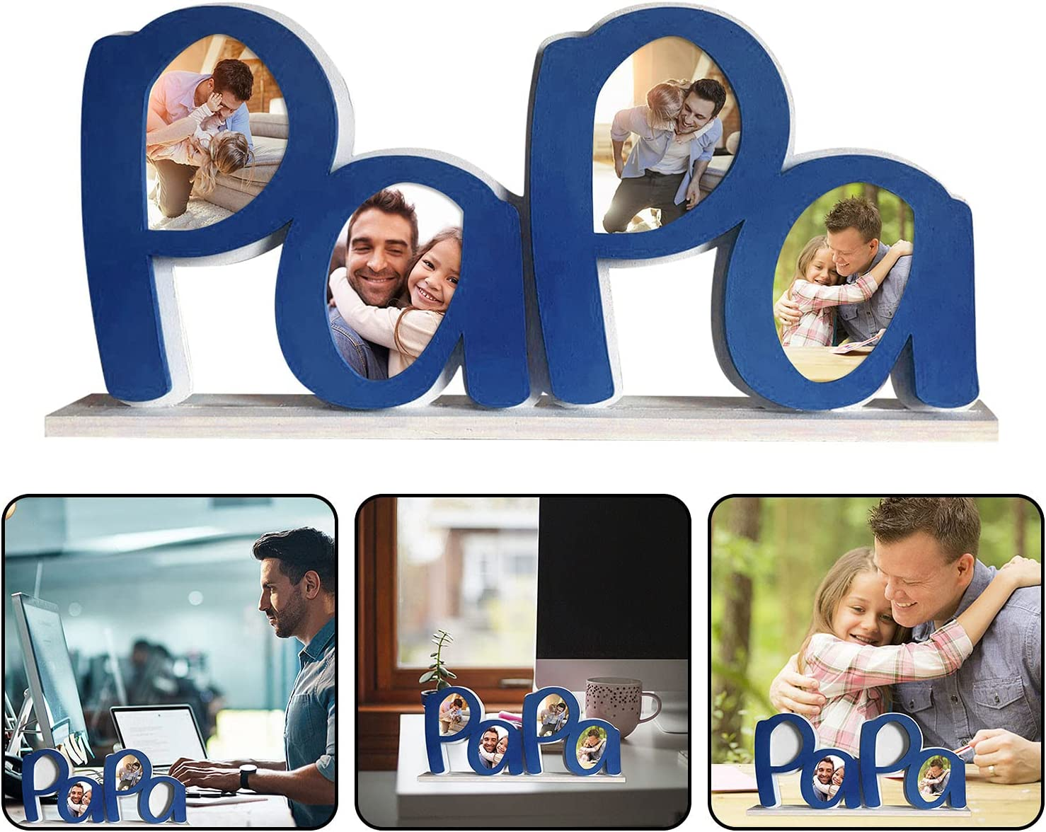 JHGH Father's Day Dad Picture Frame,3D Dad Photo Frame, Gift for The First Day of Father's Day and Birthday,Memorable Gift and Keepsake for Desktop Bedroom Home Decoration